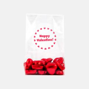 Chokladhjärtan i cellofanpåse med etikett
