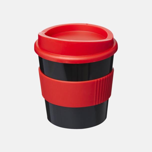 Svart / Röd 25 cl muggar med lock & grepp - med reklamtryck
