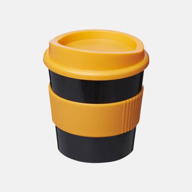 Svart / Orange 25 cl muggar med lock & grepp - med reklamtryck