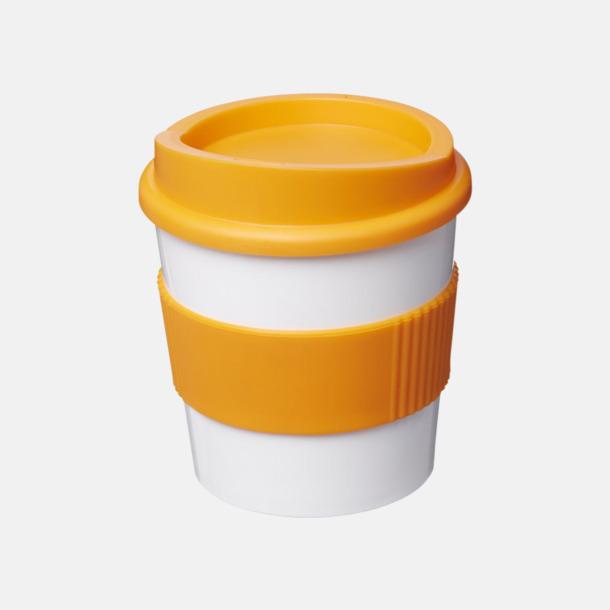 Vit / Orange 25 cl muggar med lock & grepp - med reklamtryck