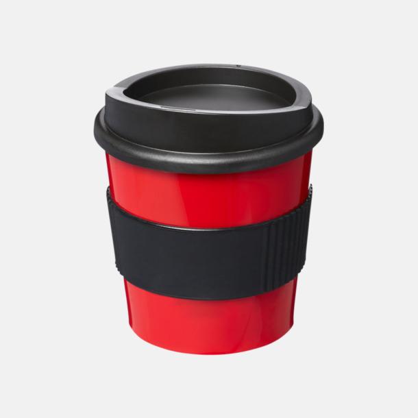 Röd / Svart 25 cl muggar med lock & grepp - med reklamtryck
