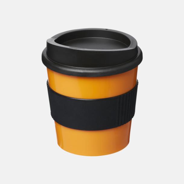 Orange / Svart 25 cl muggar med lock & grepp - med reklamtryck