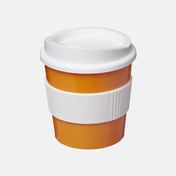 Orange / Vit 25 cl muggar med lock & grepp - med reklamtryck