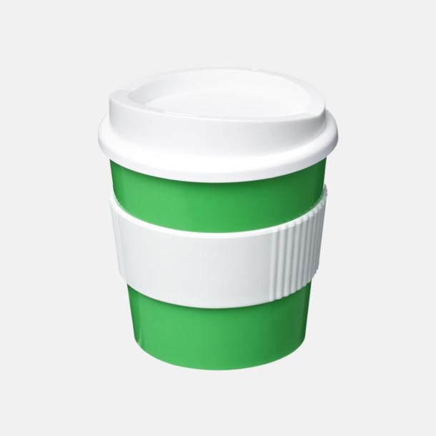 Grön / Vit 25 cl muggar med lock & grepp - med reklamtryck