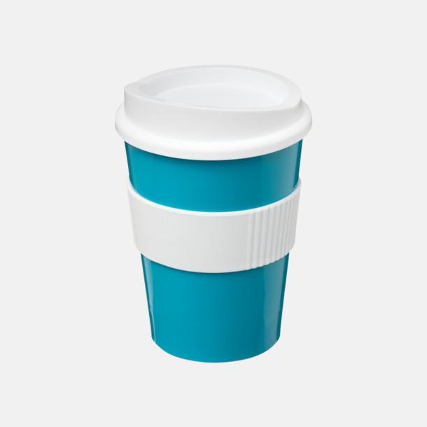 Aqua/Vit 30 cl muggar med lock & grepp - med reklamtryck