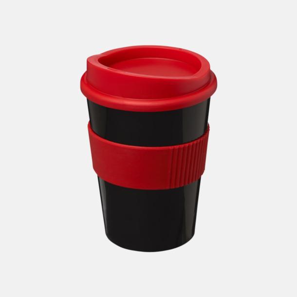 Svart / Röd 30 cl muggar med lock & grepp - med reklamtryck