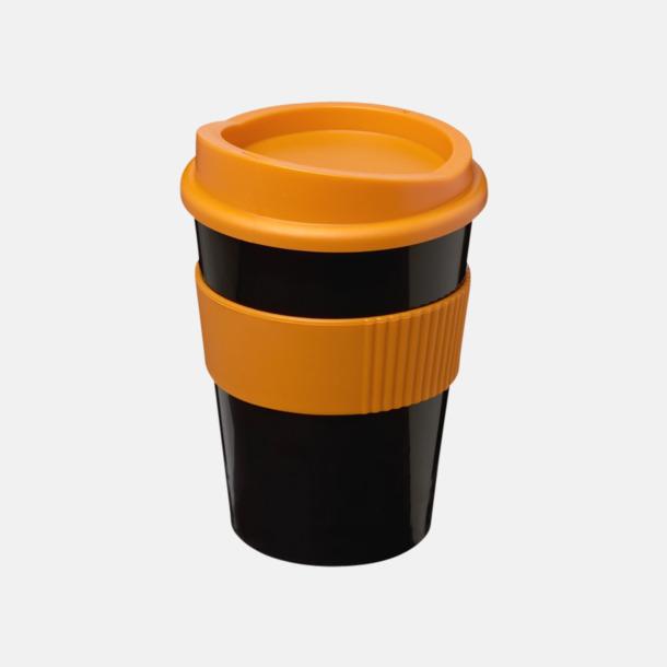 Svart / Orange 30 cl muggar med lock & grepp - med reklamtryck