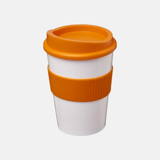 Vit / Orange 30 cl muggar med lock & grepp - med reklamtryck