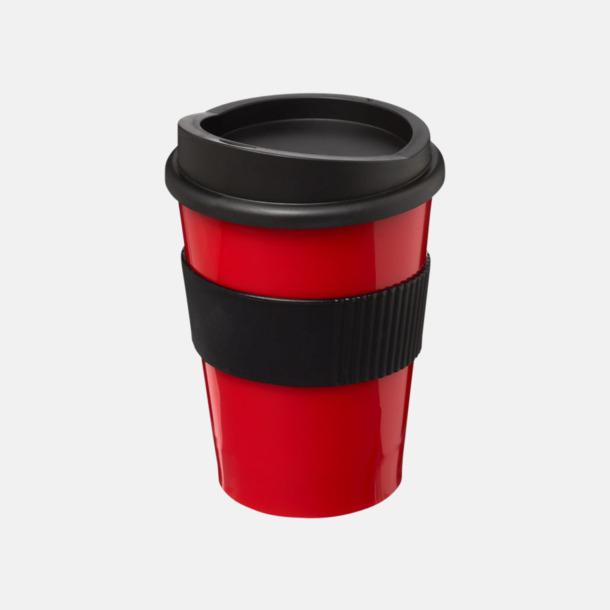 Röd / Svart 30 cl muggar med lock & grepp - med reklamtryck