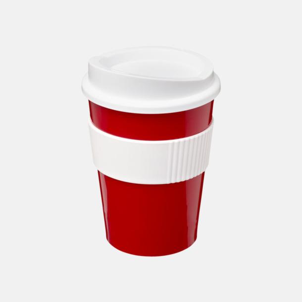 Röd / Vit 30 cl muggar med lock & grepp - med reklamtryck