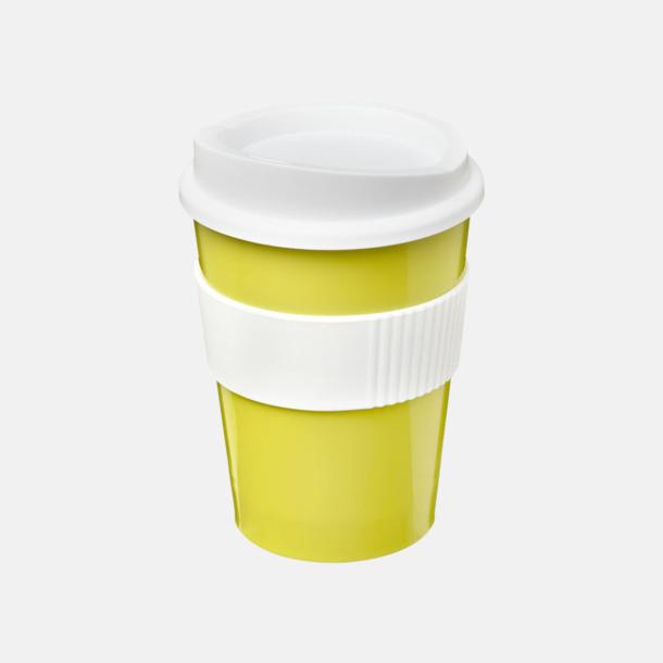 Limegrön / Vit 30 cl muggar med lock & grepp - med reklamtryck