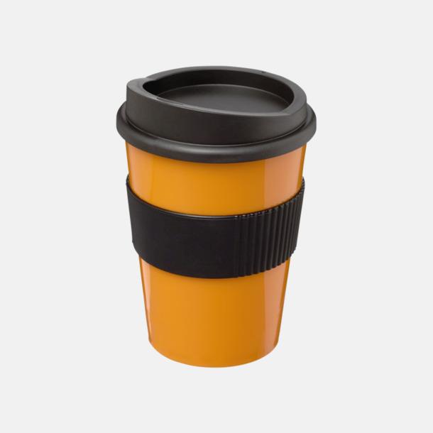 Orange / Svart 30 cl muggar med lock & grepp - med reklamtryck