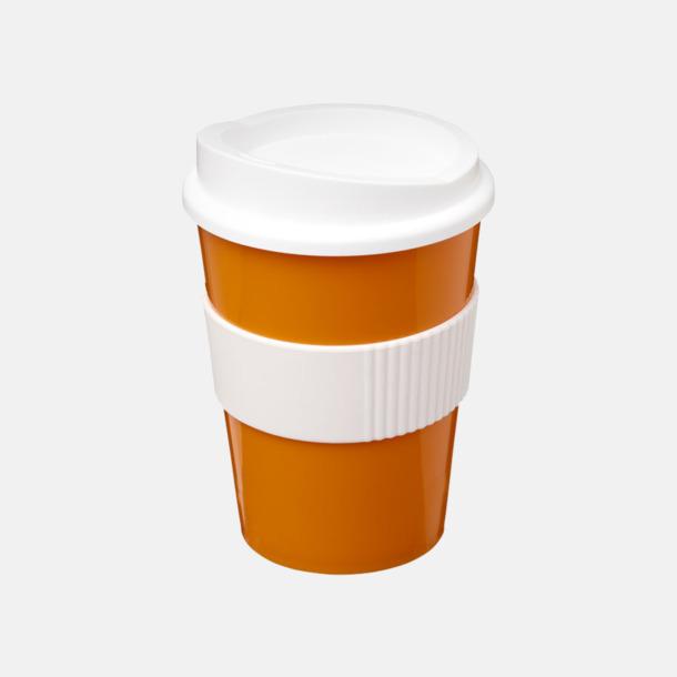 Orange / Vit 30 cl muggar med lock & grepp - med reklamtryck