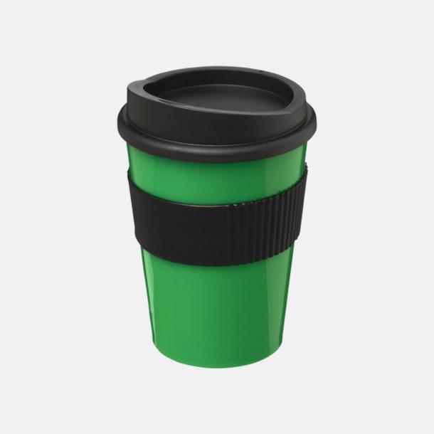 Grön / Svart 30 cl muggar med lock & grepp - med reklamtryck