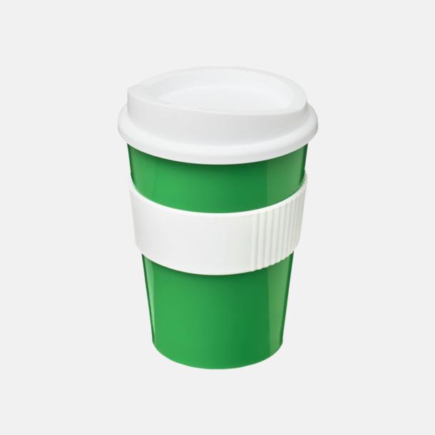 Grön / Vit 30 cl muggar med lock & grepp - med reklamtryck