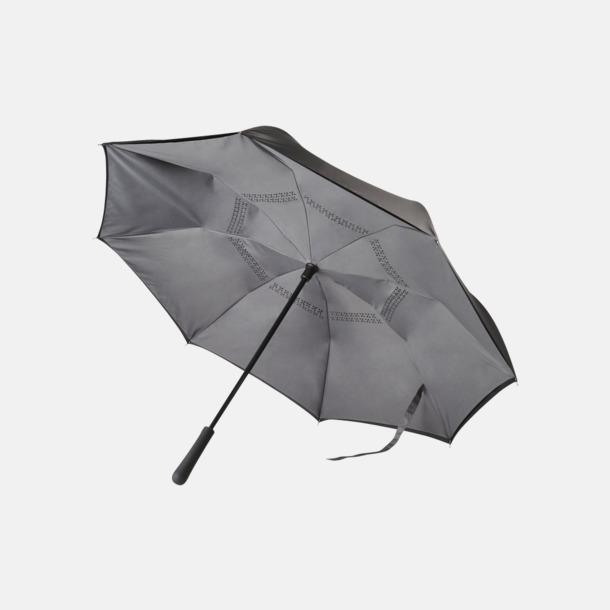 Svart / Grå Vändbara paraplyer med reklamtryck