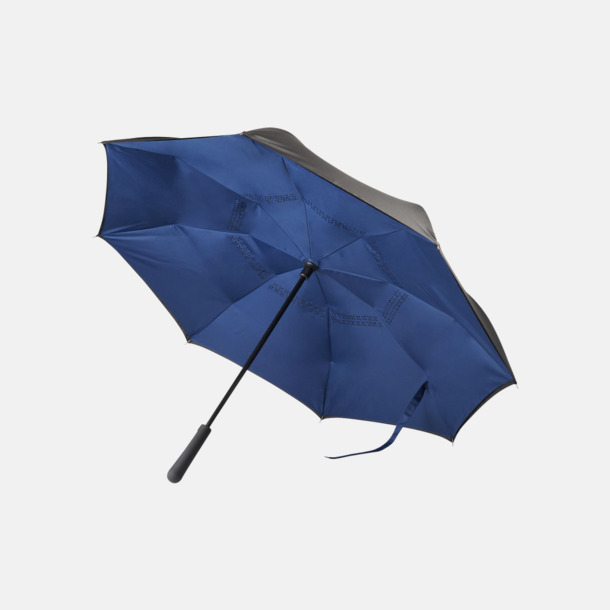 Svart / Marinblå Vändbara paraplyer med reklamtryck