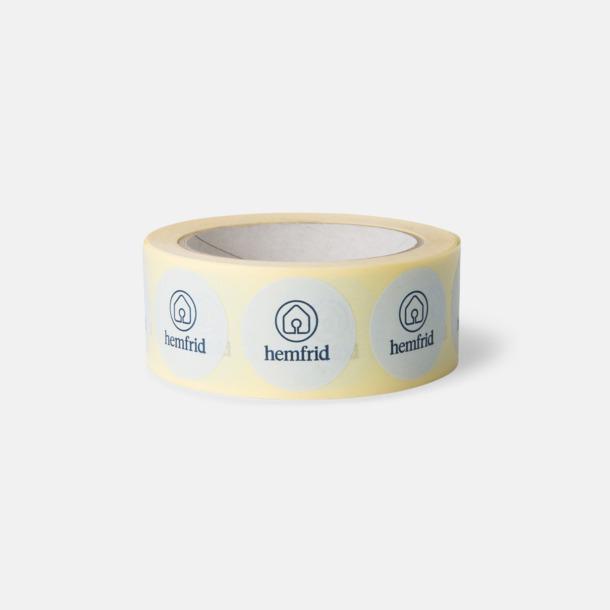 35 mm (Hot melt, matt) Runda Klistermärken PP på rulle med eget reklamtryck