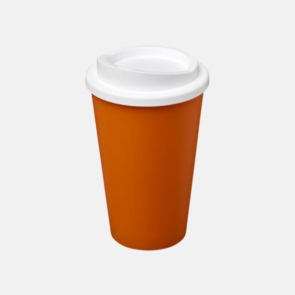 Orange/Vit (utan grepp) Fina take away-muggar med reklamtryck