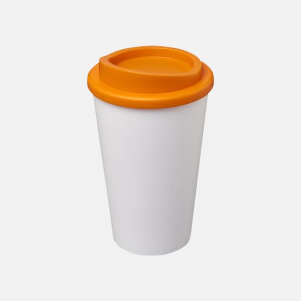 Vit/Orange (utan grepp) Fina take away-muggar med reklamtryck