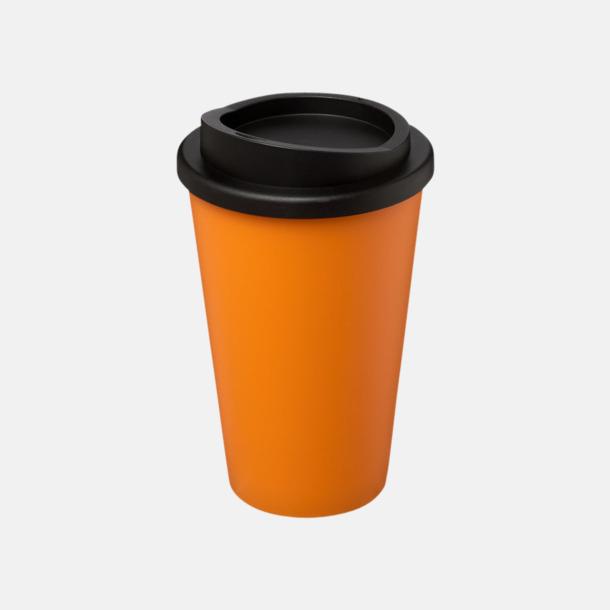 Orange/Svart (utan grepp) Fina take away-muggar med reklamtryck