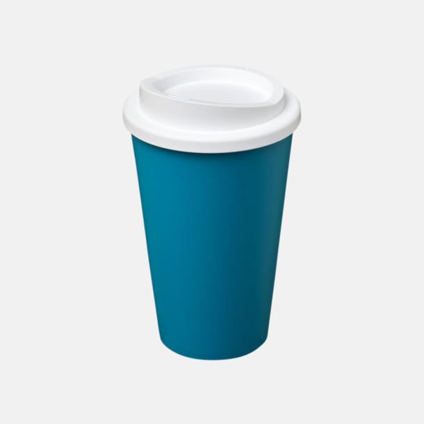 Aqua/Vit (utan grepp) Fina take away-muggar med reklamtryck