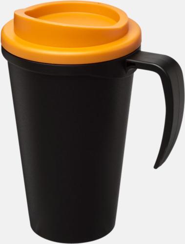 Svart / Orange Take away muggar med öra - med reklamtryck