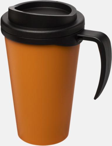 Orange / Svart Take away muggar med öra - med reklamtryck
