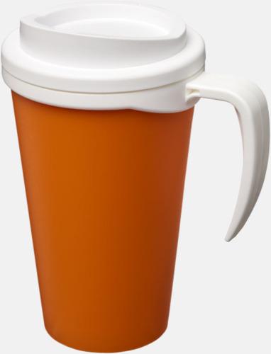 Orange / Vit Take away muggar med öra - med reklamtryck