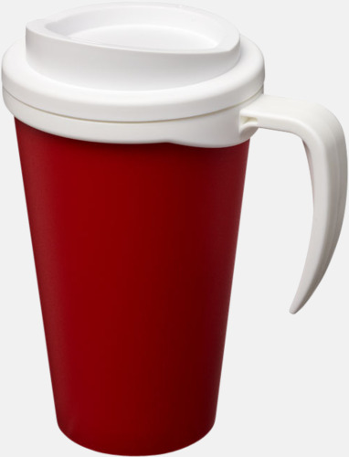Röd / Vit Take away muggar med öra - med reklamtryck