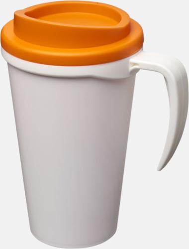 Vit / Orange Take away muggar med öra - med reklamtryck