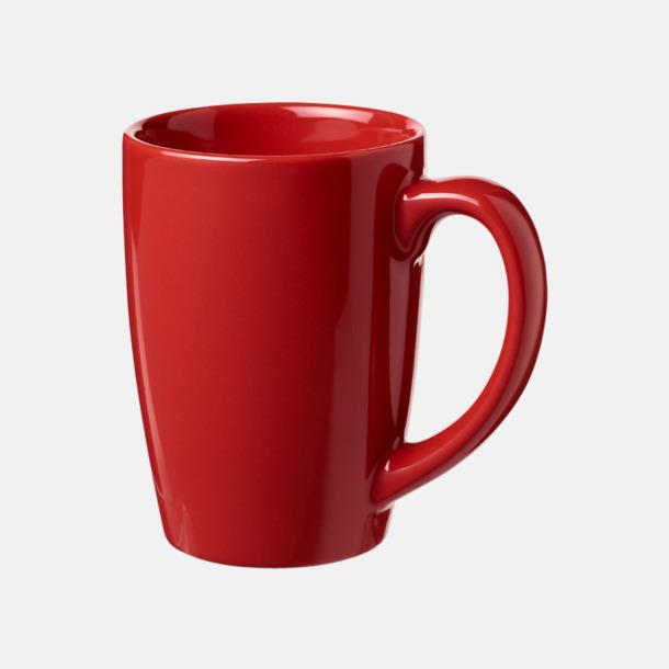 Röd 35 cl keramikmuggar med reklamtryck