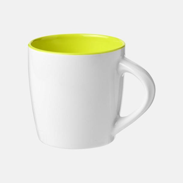 Vit / Limegrön Matta eller blanka muggar med reklamtryck