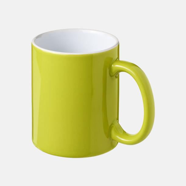 Limegrön / Vit Fina keramikmuggar med reklamtryck