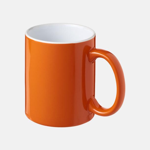 Orange / Vit Fina keramikmuggar med reklamtryck