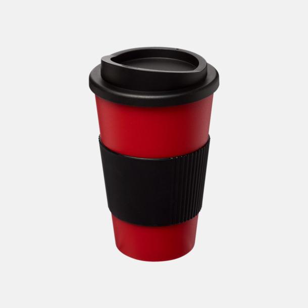 Röd/Svart (med grepp) Fina take away-muggar med reklamtryck