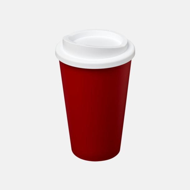 Röd/Vit (utan grepp) Fina take away-muggar med reklamtryck