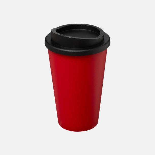 Röd/Svart (utan grepp) Fina take away-muggar med reklamtryck