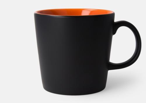 Svart / Orange Fina kaffemuggar med reklamtryck