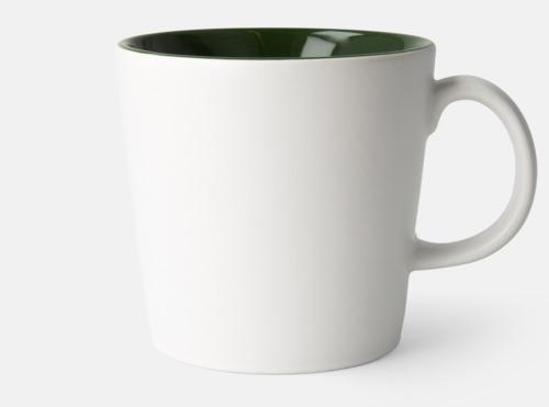 Vit / Olivgrön Fina kaffemuggar med reklamtryck