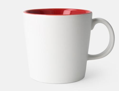 Vit / Röd Fina kaffemuggar med reklamtryck