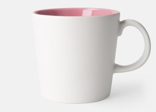 Vit / Rosa Fina kaffemuggar med reklamtryck