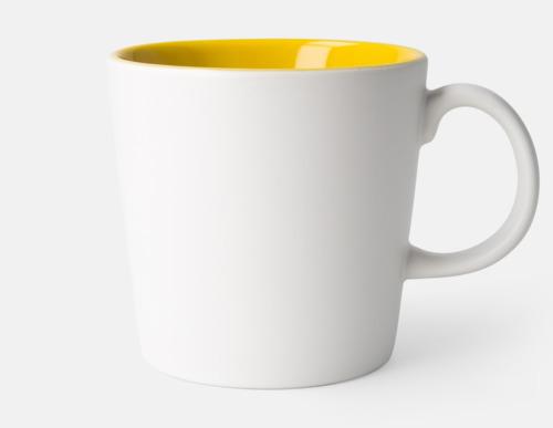 Vit / Gul Fina kaffemuggar med reklamtryck