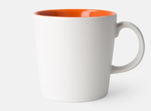 Vit / Orange Fina kaffemuggar med reklamtryck