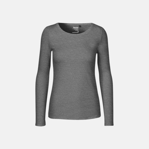 Långärmad Dark Heather (dam) Fitted t-shirts i ekologisk fairtrade-bomull med tryck