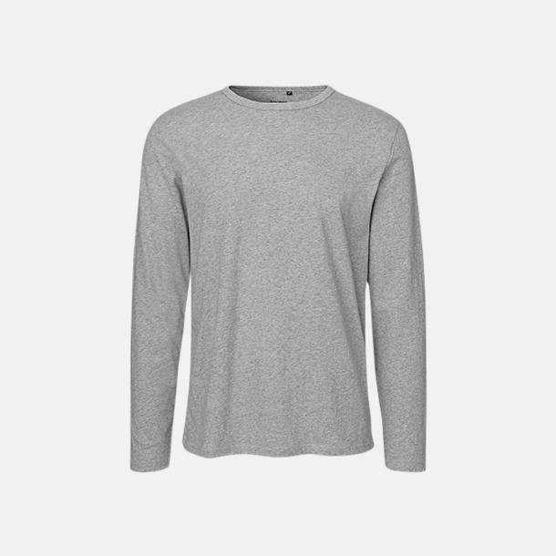 Långärmad Sport Grey (herr) Fitted t-shirts i ekologisk fairtrade-bomull med tryck