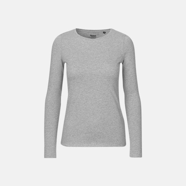 Långärmad Sports Grey (dam) Fitted t-shirts i ekologisk fairtrade-bomull med tryck