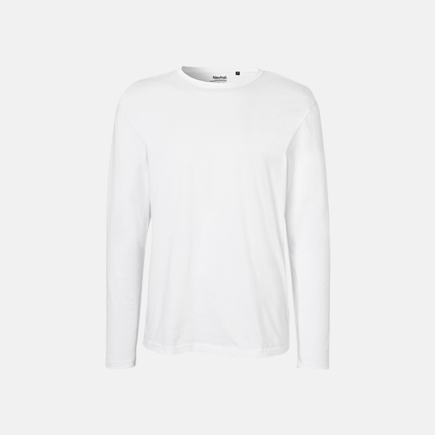 Långärmad Vit (herr) Fitted t-shirts i ekologisk fairtrade-bomull med tryck