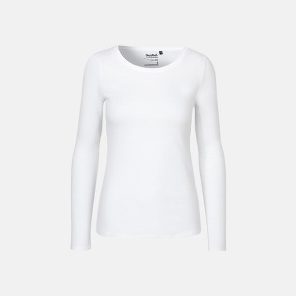 Långärmad Vit (dam) Fitted t-shirts i ekologisk fairtrade-bomull med tryck