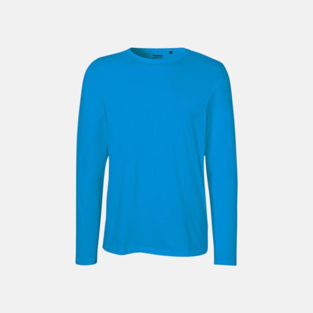 Långärmad Sapphire (herr) Fitted t-shirts i ekologisk fairtrade-bomull med tryck